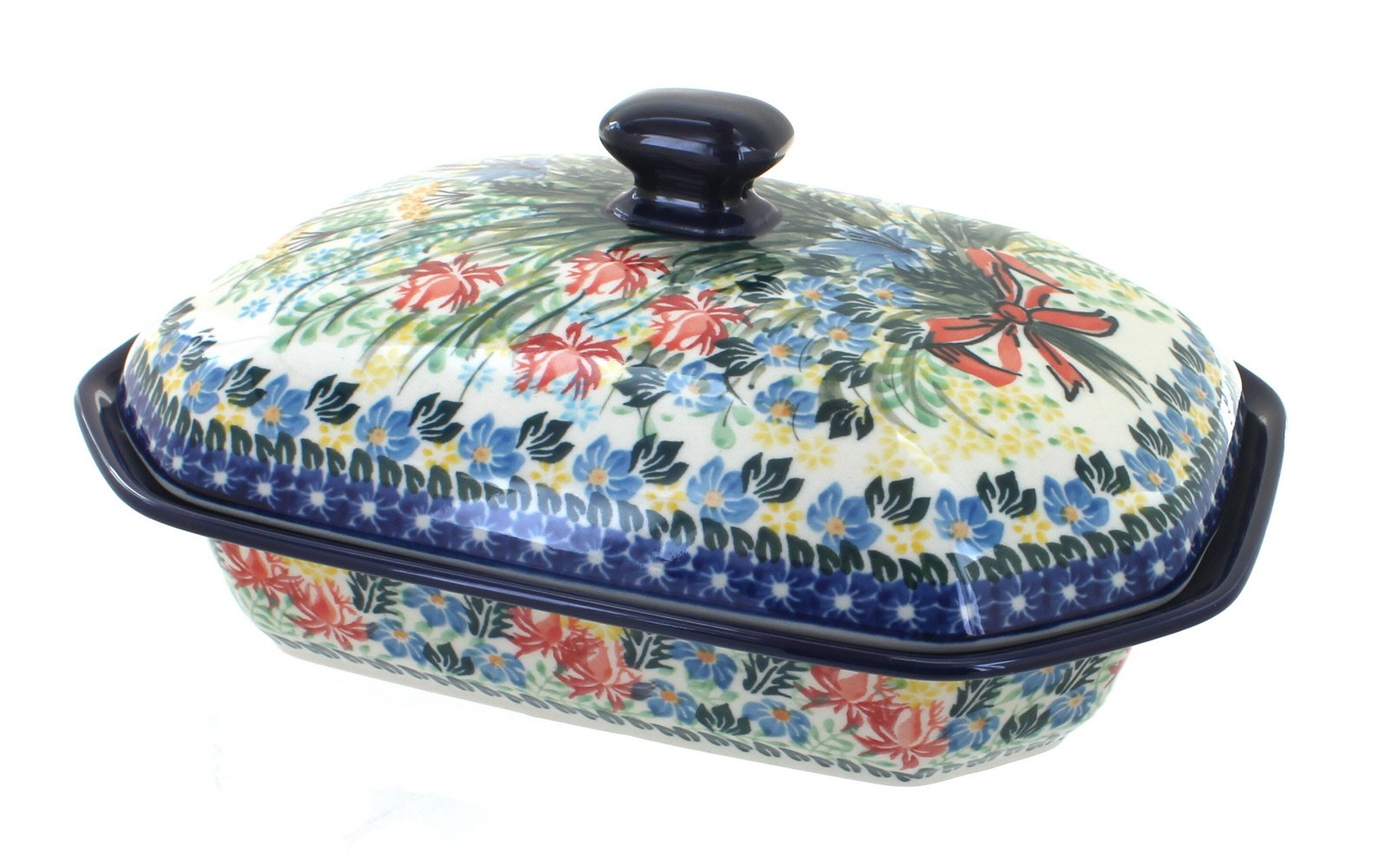 Blue Rose Polish Pottery Day Lily Bouquet Medium Covered Baking Dish