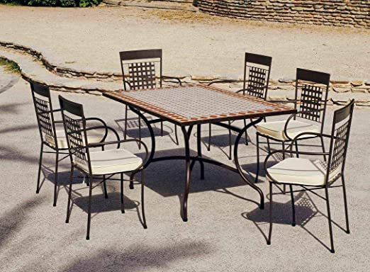 HEVEA Jardin Ensemble ATV15-1 Table Tons 150 Brique et Blanc ...