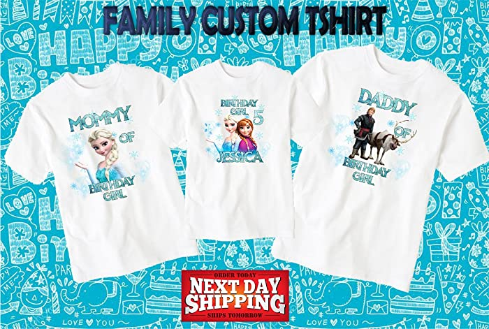 Amazon Frozen Birthday ShirtCustom Shirtpersonalized Custom Shirt Family Shirtbirthday Shirtkids D5 Handmade