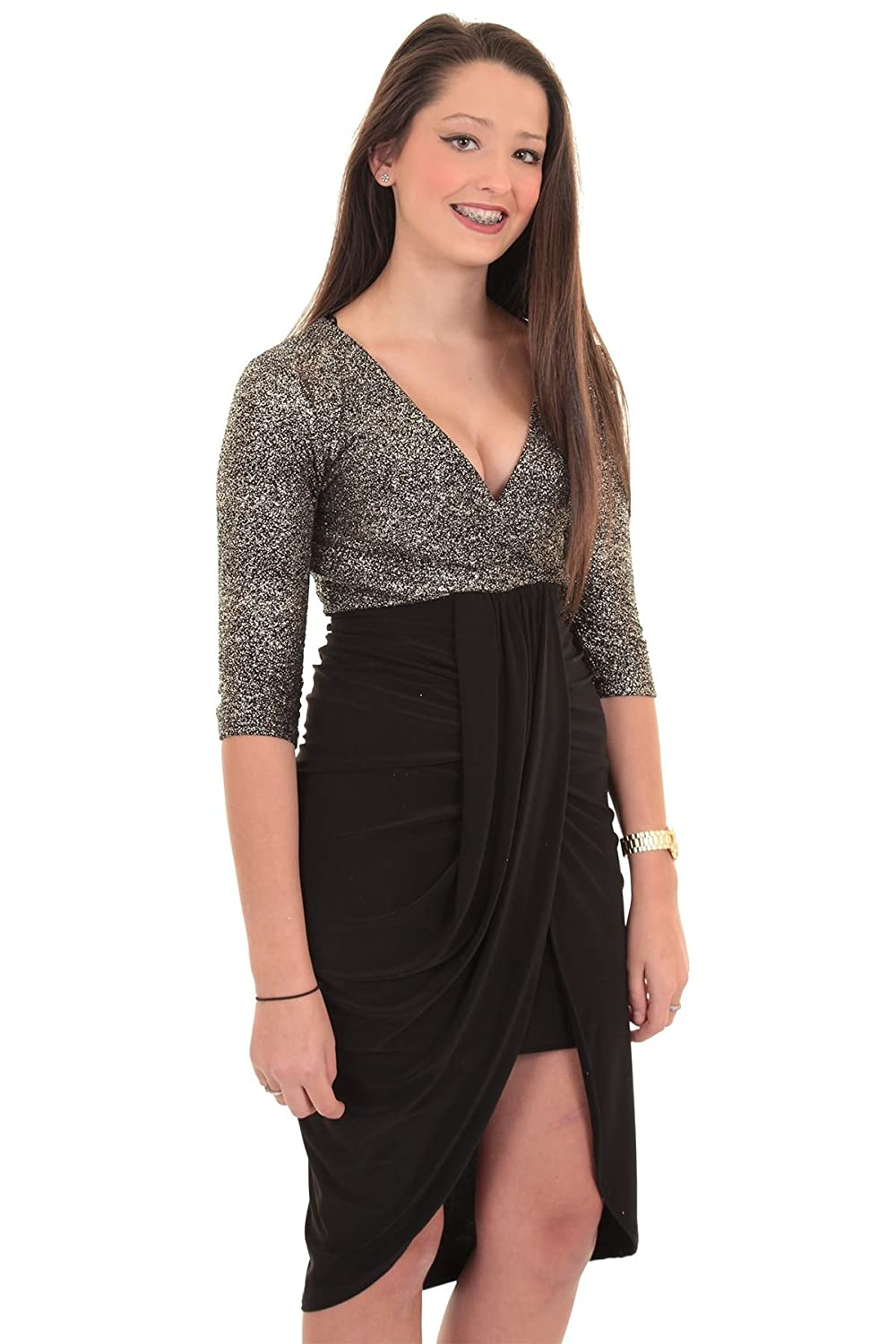 b7a09bc37a FANTASIA BOUTIQUE ® Ladies 3 4 Sleeve Plunge V Wrap Front Gathered Silver  Gold Contrast Smart Dress  Amazon.co.uk  Clothing