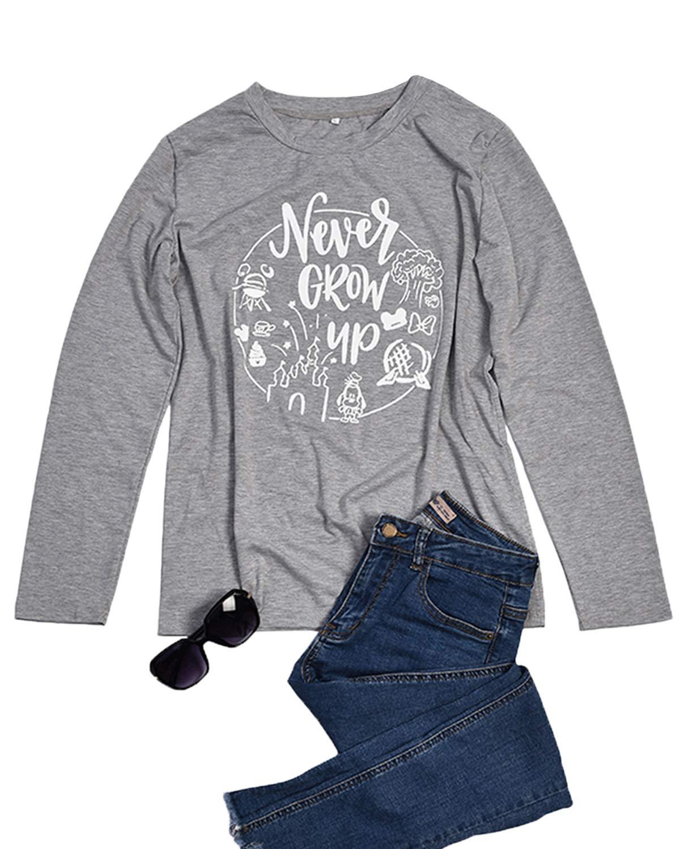 LeMarnia Long Sleeve T-Shirt Women, Juniors Crewneck Graphic Tees Cotton Knit Letter Print Never Grow Up Disney Shirts Casual Cute Fall Tops Grey-2 XL