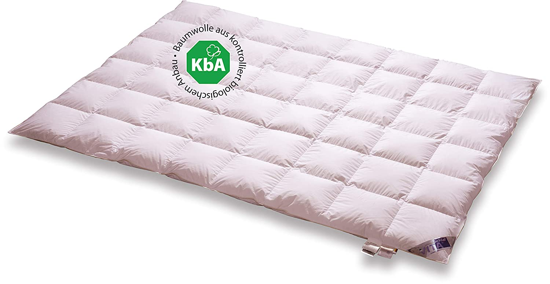 Vita Schlaf Bio DE Luxe Daunendecke Leicht Sommer Deutsche Qualität mit KBA Einschütte große Größen (200 x 200 cm)