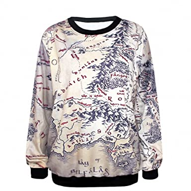 Crochi Lord of The Rings Hoodie Middle Earth Map Punk Women Sweat3D ...