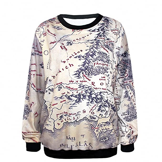 Crochi Lord of The Rings Hoodie Middle Earth Map Punk Women ...