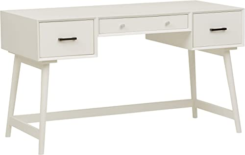 Rivet Modern 3-Drawer Desk, 51.9 W, White
