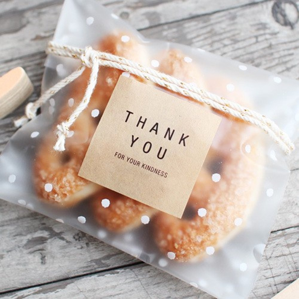 White Dots Self Adhesive Plastic Cookie Bags For Gift Giving 200 Bags+200 Thank You Labels BBC BAKERY