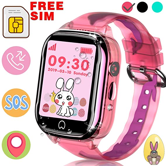 Kids Smart Watch GPS Tracker - [SIM Card Included] IP68 Waterproof Phone SmartWatch for Boys Girls with Two-Way Call SOS Games Camera Remote ...