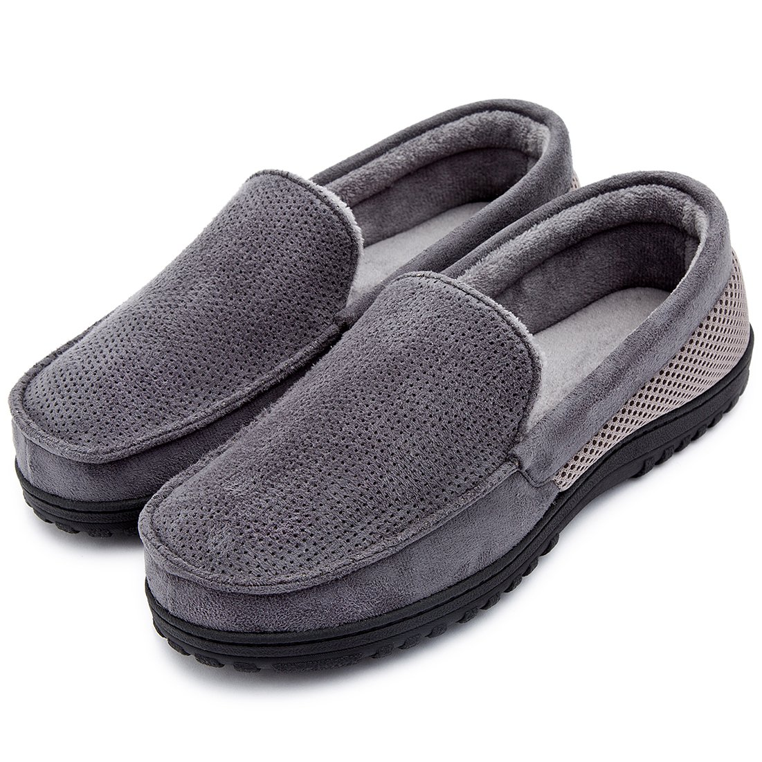 Men's Breathable Micro Suede Memory Foam Moccasins Slippers Plush Fleece Indoor/Outdoor Loafer Shoes w/Arch Supports (10 D(M) US, Dark Gray) by ULTRAIDEAS