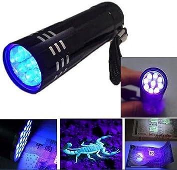 3AAA Blacklight Ink 9 LED UV Ultra Violet Mini Portable Flashlight Torch Light