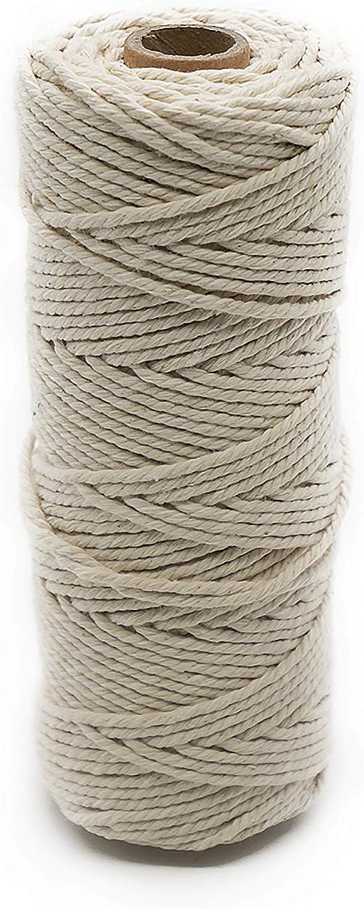 Anzirose Cuerda de algodon natural Ø 2 mm x 100m Cuerda de Algodón ...