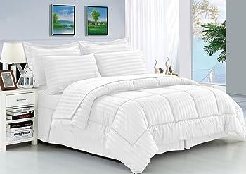 Elegant Comfort 8-Piece Dobby Stripe Bed-in-a-Bag Comforter Set