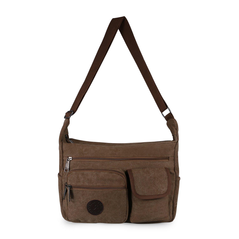 Vintage Retro Canvas Messenger Bag Crossbody Shoulder Bags Multi-Pocketed Handbag by JewelryWe (Brown)