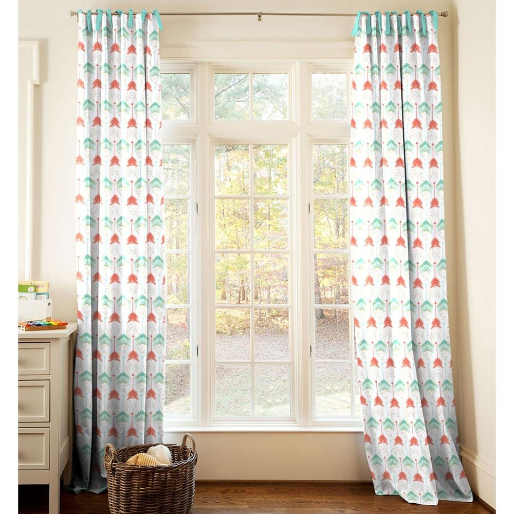 Carousel Designs Coral and Teal Arrow Drape Panel 64-Inch Length Standard Lining 42-Inch Width