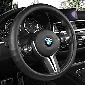 Black Panther Car Steering Wheel Cover with Grip Contours, Improves Control & Anti-Slip Design, 15 inch Universal - Black