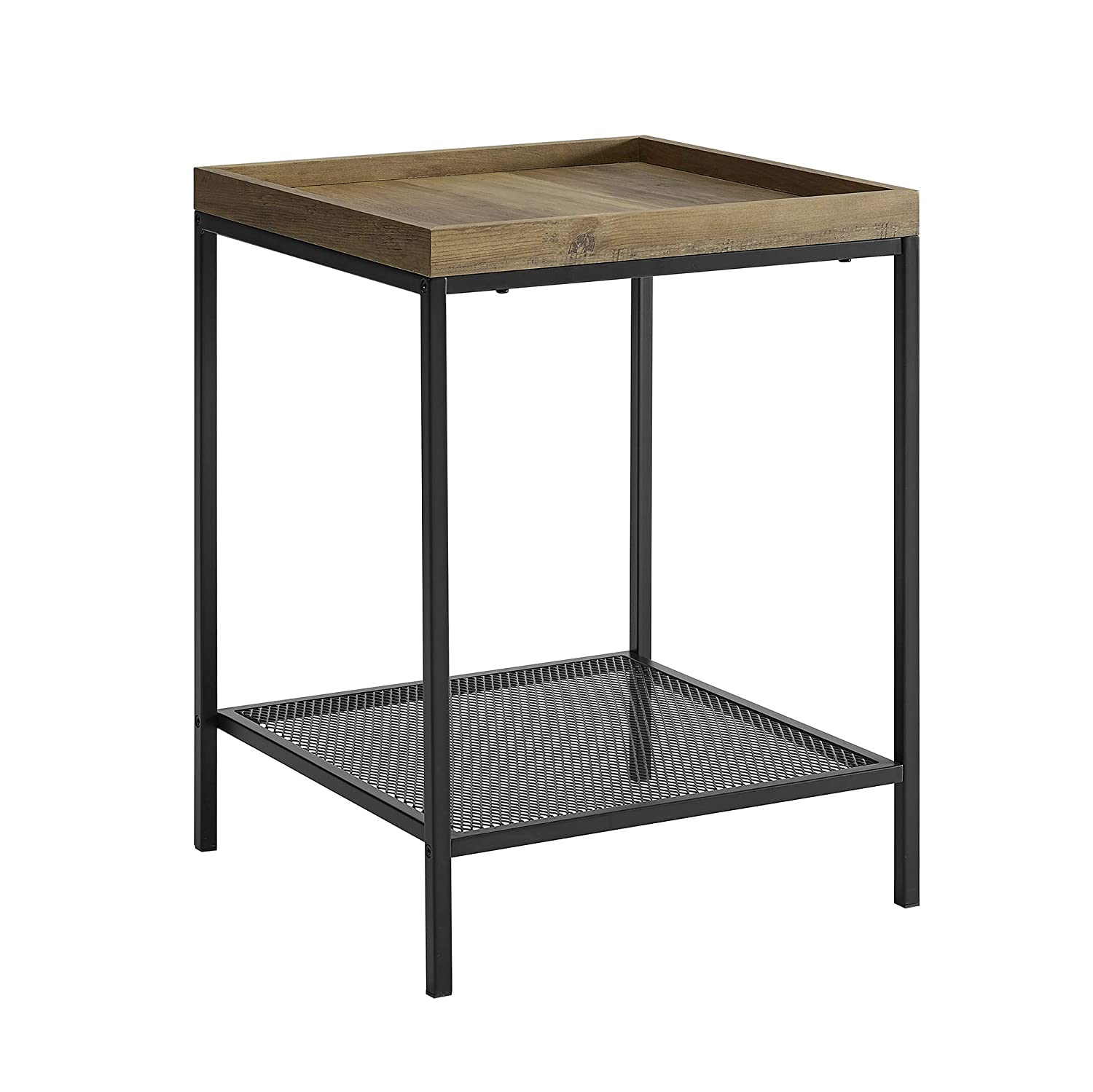 WE Furniture AZF18EMISTRO Industrial Farmhouse Square Side End Accent Table Living Room, 18 Inch, Brown Reclaimed Barnwood