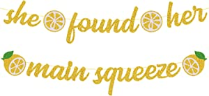 OKUSUN She Found Her Main Squeeze Bridal Shower Decorations for Lemon Citrus Lemonade Theme Bride to Be Bachelorette Wedding Engagement Final Fiesta Hen Party Supplies Gold Glitter Decor