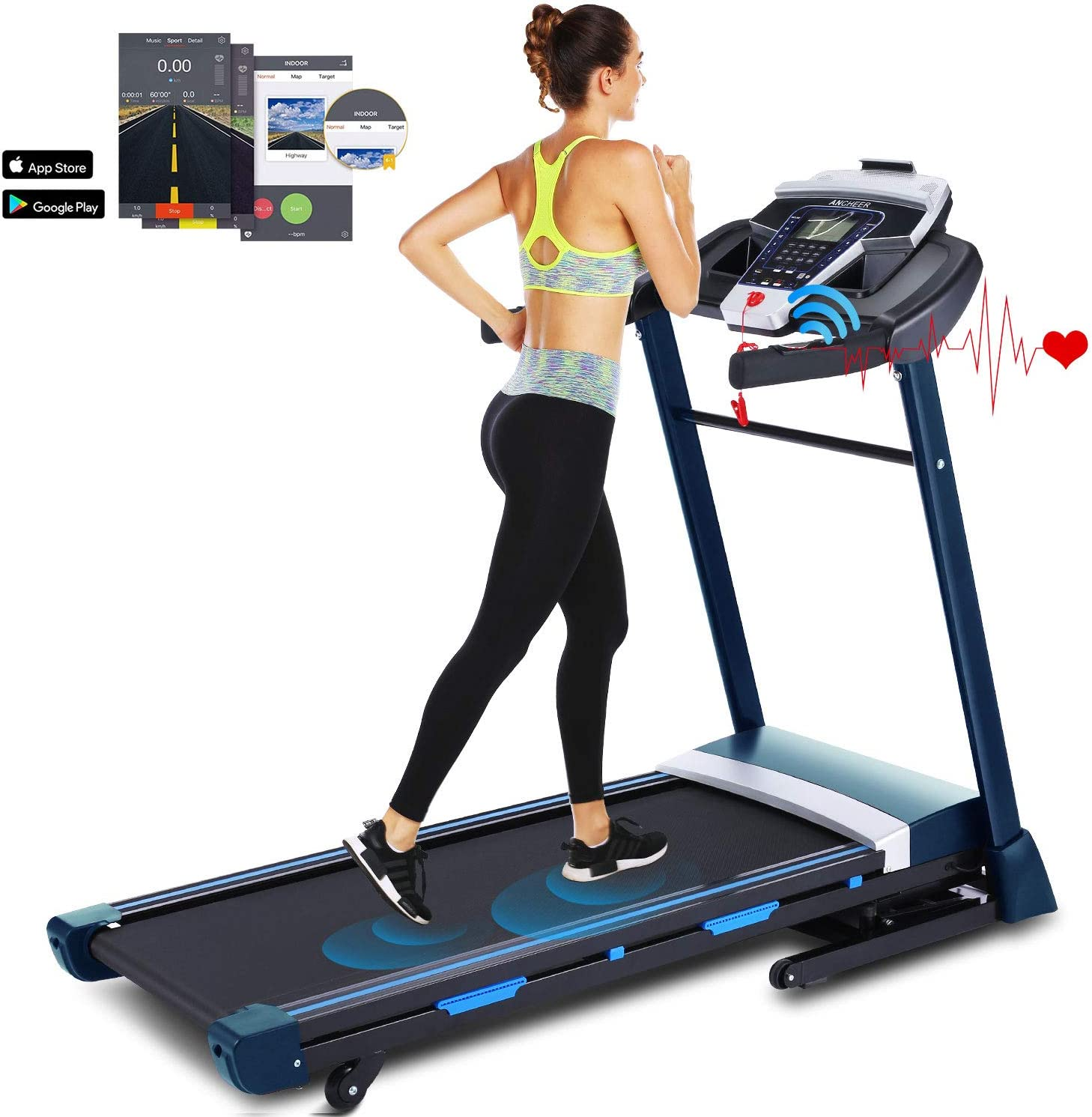 ANCHEER 3.25HP Folding Treadmill, Electric Automatic Incline Treadmill, Walking Jogging Running Machine with APP Control for Home Gym Cardio Fitness Exercise Trainer