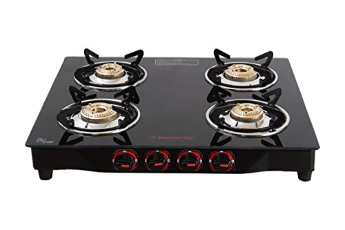 7. Butterfly Smart Glass 4 Burner Gas Stove