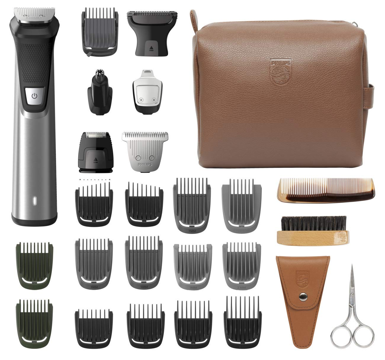 Philips Norelco Multi Groomer MG7791/40 29 Piece Mens Grooming Kit, Trimmer for Beard, Head, Body, and Face - NO BLADE OIL NEEDED