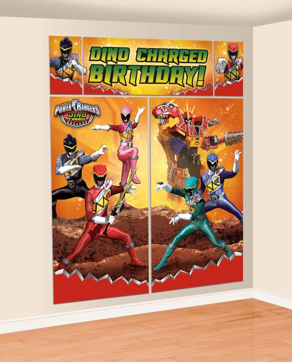 Power Rangers Bedroom Decor Amazoncom Amscan Power Rangers Dino Charge Birthday Party Scene
