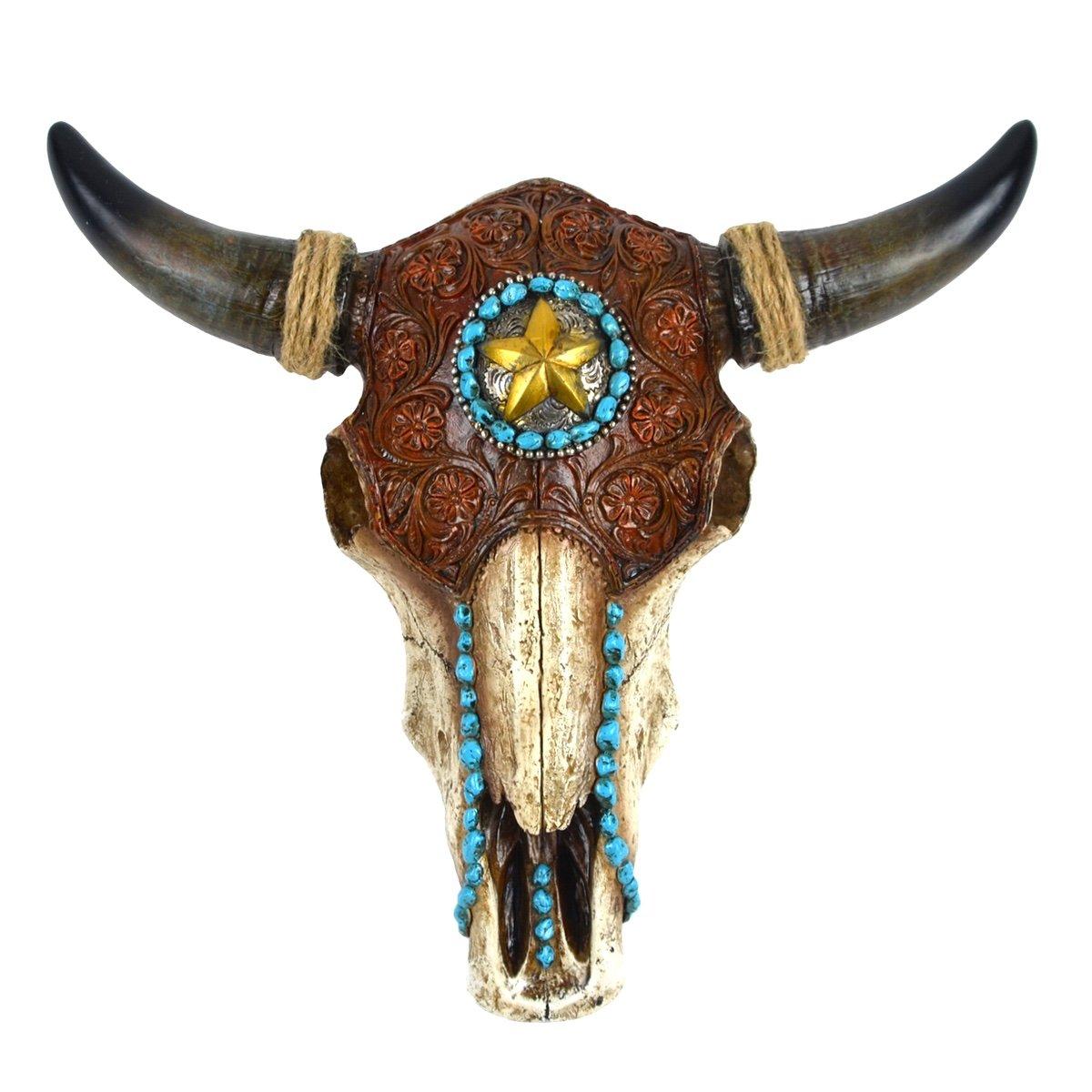Resin & Leather Steer Skull & Horns Wall Mount Bull or Cow Head Western Star Home Decor DLC INC