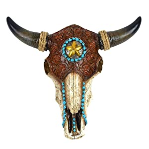 Resin & Leather Steer Skull & Horns Wall Mount Bull or Cow Head Western Star Home Decor