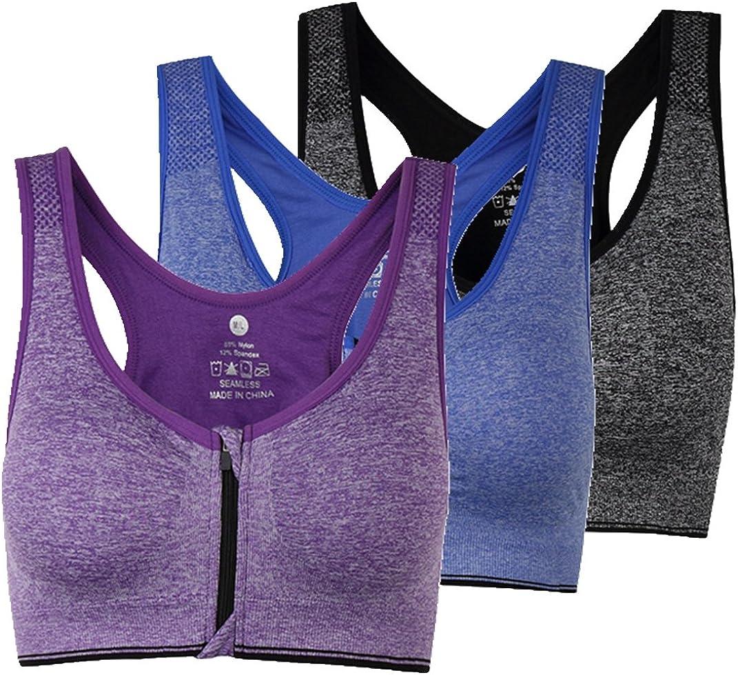 ohlyah Womens Zipper Front Closure Sports Bra Racerback Yoga Bras