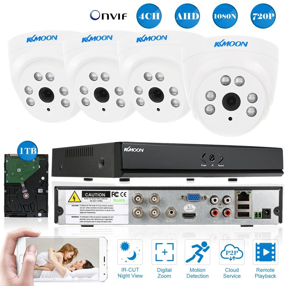 超激安 KKmoon 防犯カメラセット KKmoon 4CHフル1080N 3-in-1機能 DVR + 4* 4* 720P AHD屋内ドームCCTVカメラ+ 4* 60ft監視ケーブル+ 1TB HDD P2PAndroid/ iOS APP制御モーション検知ナイトビジョンNTSCシステム日本語システム支持DVR/ HVR/ AVR 3-in-1機能 B075Z1F61K, 大進塗料店:69f91562 --- trainersnit-com.access.secure-ssl-servers.info