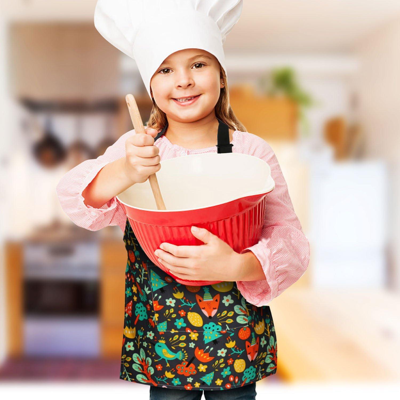 hornear CicRuii Juego de delantal para ni/ños con correa ajustable para el cuello para ni/ñas y ni/ños cocina jardiner/ía delantal para cocina en casa pintura