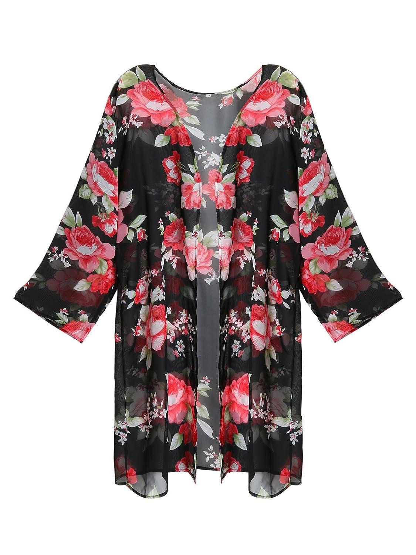 24b336e812 Amazon.com: GESSY Cover up for Swimwear Women Ladies Full Sleeve Sheer  Chiffon White Floral Printed Beachwear: Clothing
