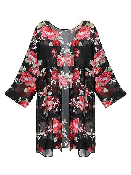 3e24cb83b4 GESSY Womens Floral Print Sheer Chiffon Kimono Cardigan Blouse Beach Loose  Cover up at Amazon Women's Clothing store: