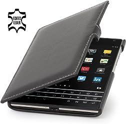 StilGut Book Type, housse en cuir avec clip pour BlackBerry Passport, en noir nappa