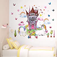 Unicorn Wall Decor Decals Stickers Bedroom Room Nursery for Teen Girls Kids Decorations 4pcs Large Unicorn Castle with…