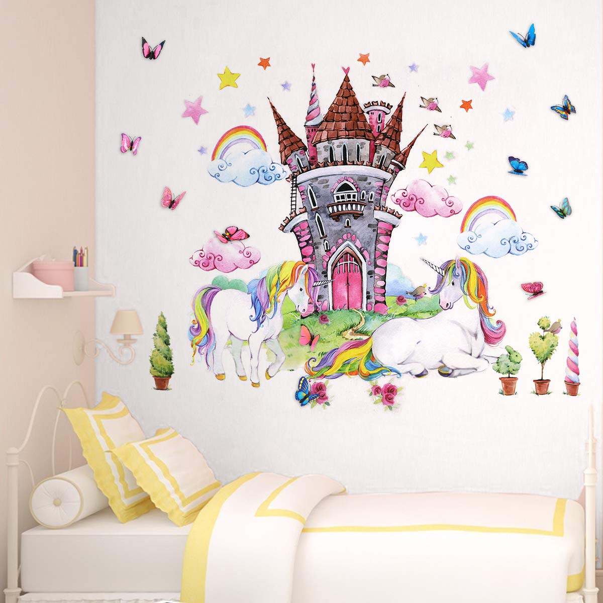 Unicorn Wall Decor Decals Stickers Bedroom Room Nursery for Teen Girls Kids Decorations 4pcs Large Unicorn Castle with 12pcs 3D Butterfly