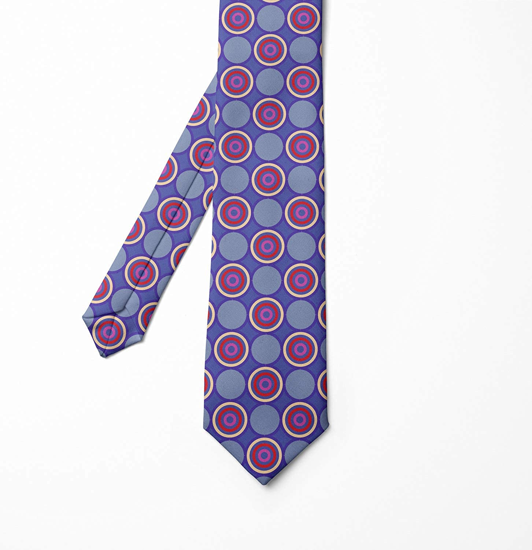 Dark Violet Multicolor 3.7 Abstract Retro Rounds Ambesonne Necktie