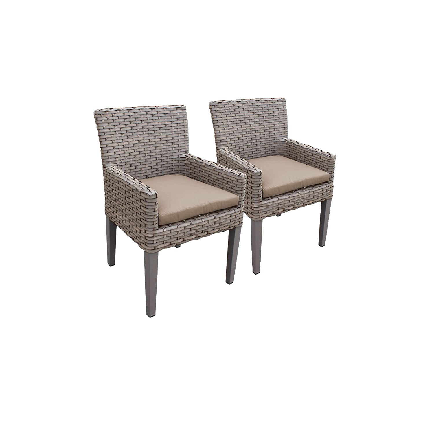 Amazon com tk classics oasis 2 piece dining chairs arms cocoa garden outdoor