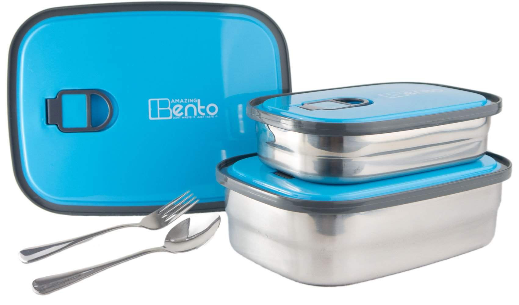Best Stainless Steel Bento Lunch Box for Kids & Adults, Leak Proof Food Containers, Storage Set 3 in 1 with Lids Includes FREE Cutlery & Recipes E-book