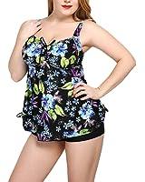 Zhhlinyuan Women Sexy Halterneck Tankini Set Push Up Shorts la natation Swimwear 7403#