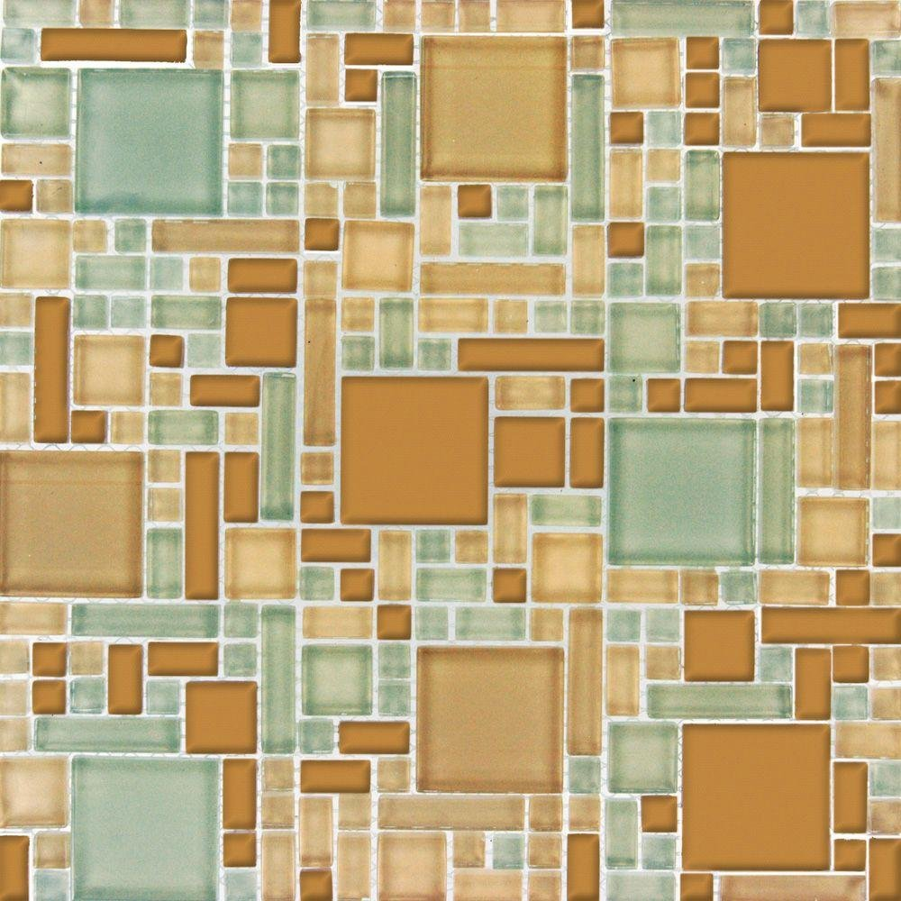 MS International Mocha Cream Pattern 12 in. x 12 in. Magic Mosaic Glass Floor and Wall Tile - Box of 5 sqf