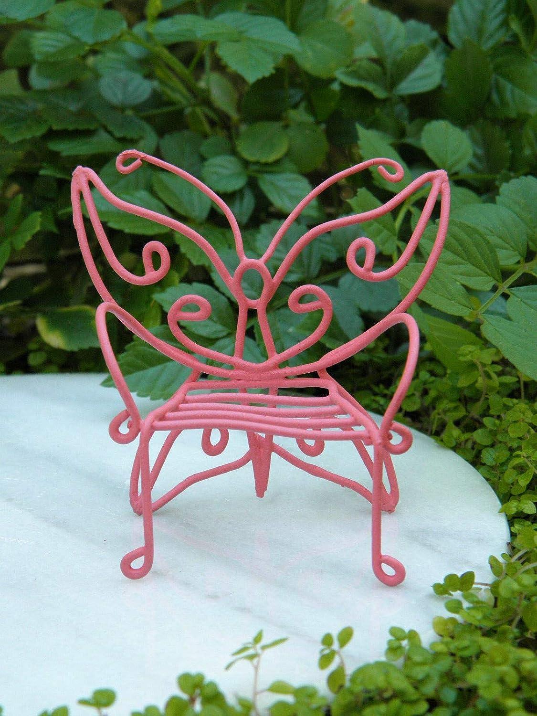 Miniature Dollhouse FAIRY GARDEN Accessories ~ Front Porch Chair w PINK Pillow