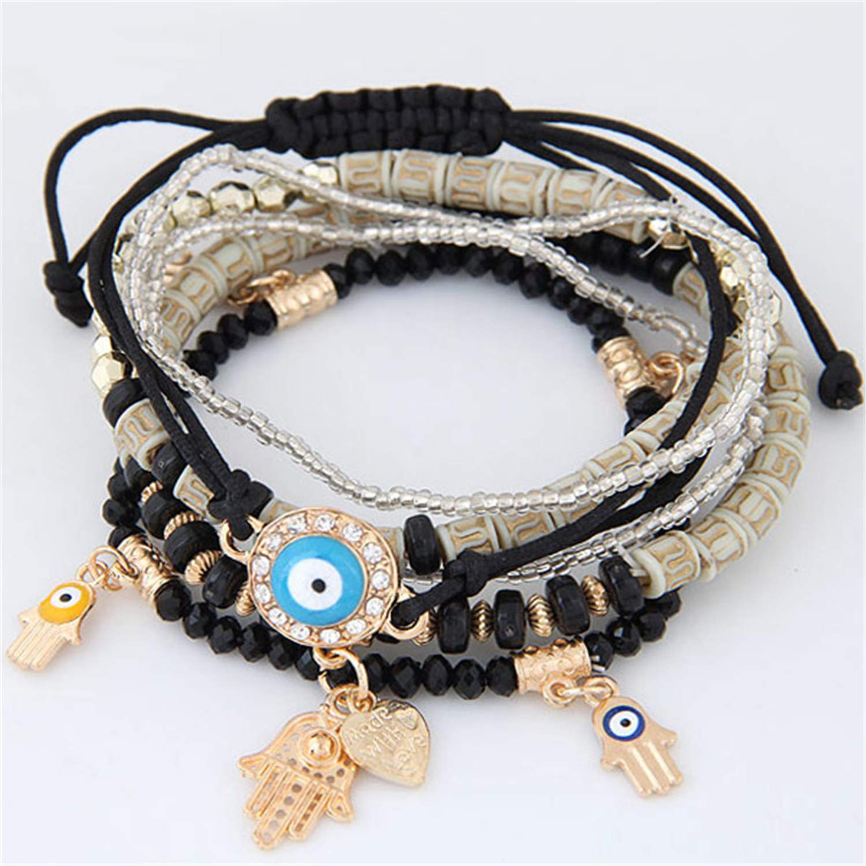 naivety Kabbalah Fatima Hamsa Hand Blue Evil Eye Heart Charm Bracelets Bangles Multilayer Beads Turkish Pulseras for Women