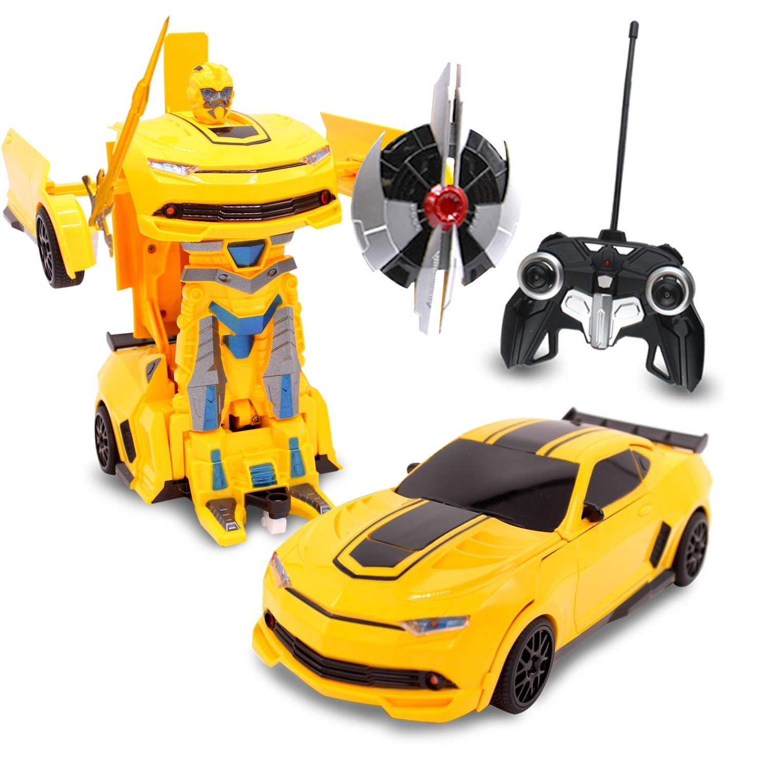 Kids RC Toy Transforming Robot Remote Control (27 MHz) Sports Car One Button Transformation Realistic Engine Sounds 360 Speed Drifting 1:22 Scale Toys For Boys (Yellow) by Transformania Toys (Image #1)
