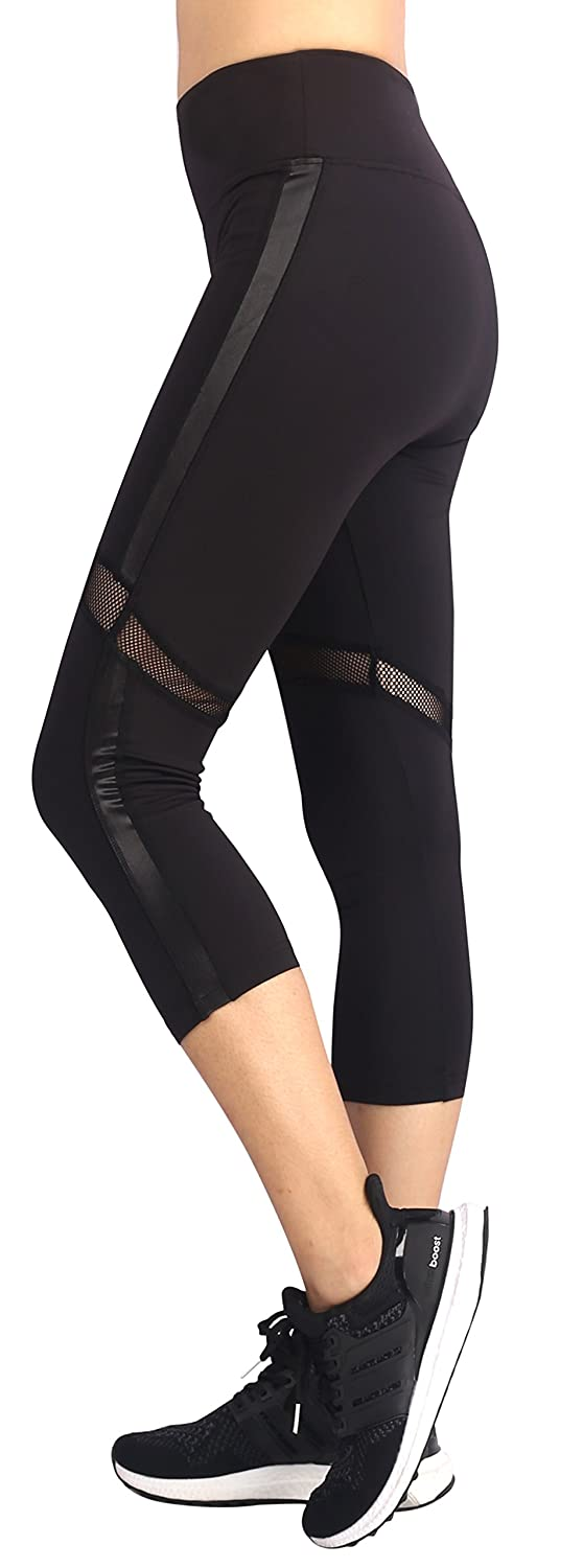 Sugar Pocket Women's Capri Leggings Workout Tights Pants Mesh Splice