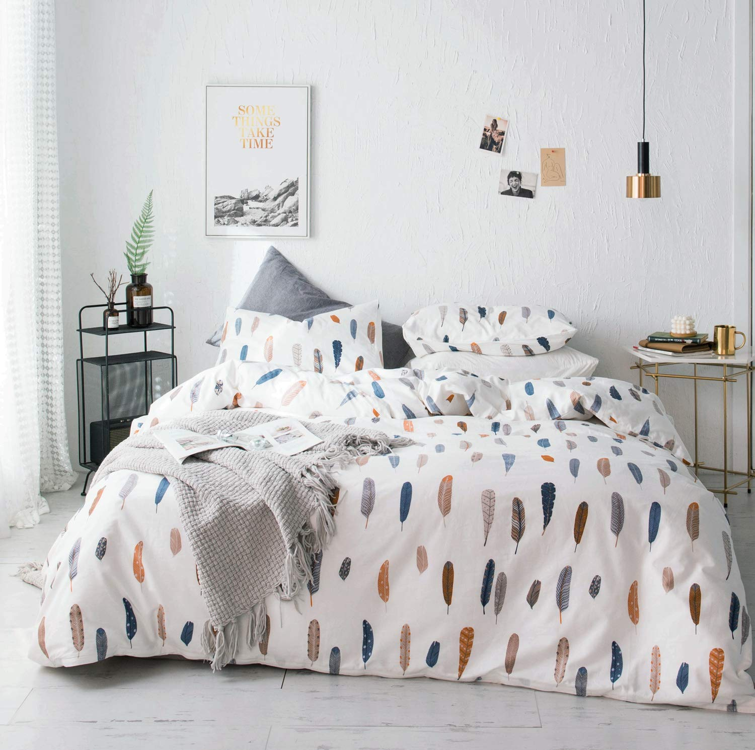 YuHeGuoJi 3 Pieces Duvet Cover Set 100% Cotton White King Size Multi-Colored Feather Print Bedding Set 1 Duvet Cover with Zipper Ties 2 Pillowcases Luxury Quality Soft Breathable Comfortable Durable