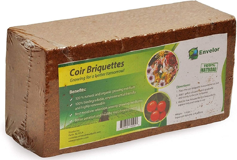 Envelor Organic Coco Coir Fiber Growing Media - 1 Brick = 2.4 Gallons of Potting Mix - Urban Vegetable Garden, Grow Seedlings, House Plants - pH-Balanced - 1.5 lb Briquette, 6 Pack