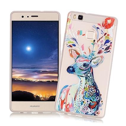 XiaoXiMi Carcasa Huawei P9 Lite Funda Luminosa de Silicona Caucho Gel para Huawei P9 Lite Soft TPU Silicone Case Cover Carcasa Protectora Funda Blanda ...