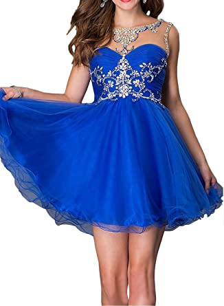 Promworld Womens Crew Neck Beaded Chiffon Short Prom Dress Party Dress Royal Blue US2