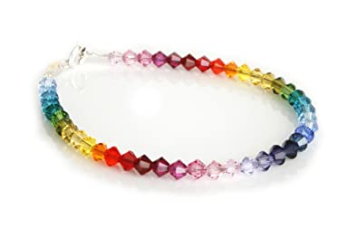 Sterling Silver & Small 4mm Crystal Rainbow Multicoloured Bracelet Made With SWAROVSKI ELEMENTS H8onK