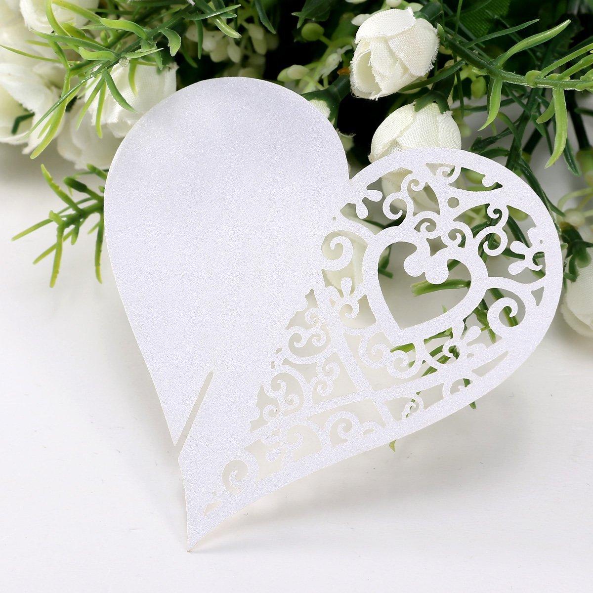 REFURBISHHOUSE 20pcs Carte de Verre Porte-Noms Marque-Places Coeur Blanc Mariage Decoration