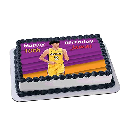 Lonzo Ball Los Angeles Lakers Birthday Cake Personalized Toppers Edible Frosting Photo Icing Sugar Paper